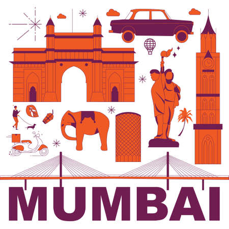 Mumbai culture travel set, famous architectures and specialties in flat design. Business travel and tourism concept clipart. Image for presentation, banner, website, advert, flyer, roadmap, icons