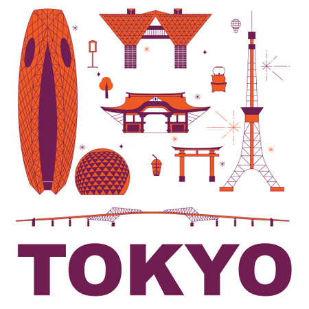 Tokyo culture travel set, famous architectures and specialties in flat design. Business travel and tourism concept isolated on white background. Image for presentation, banner, website, app, advert Stock Illustratie