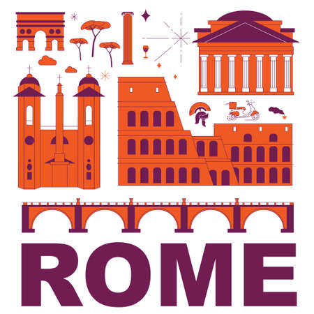 Rome culture travel set, famous architectures and specialties in flat design. Business travel and tourism concept isolated on white background. Image for presentation, banner, website, app, advert Stock fotó - 149888874