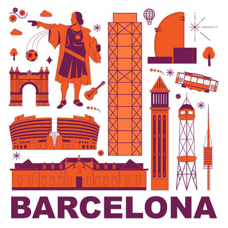 Barcelona culture travel set, famous architectures and specialties in flat design. Business travel and tourism concept clipart. Image for presentation, banner, website, advert, flyer, roadmap, icons