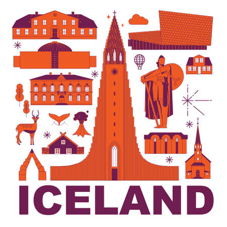 Iceland culture travel set, famous architectures and specialties in flat design. Business European tourism concept clipart. Image for presentation, banner, website, advert, flyer, roadmap, icons