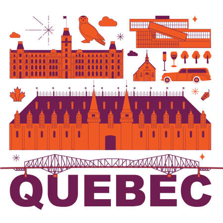 Quebec culture travel set, famous architectures and specialties in flat design. Business travel and tourism concept clipart. Image for presentation, banner, website, advert, flyer, roadmap, icons