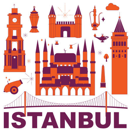 Istanbul culture travel set, famous architectures and specialties in flat design. Business travel and tourism concept isolated on white background. Image for presentation, banner, website, app, advert