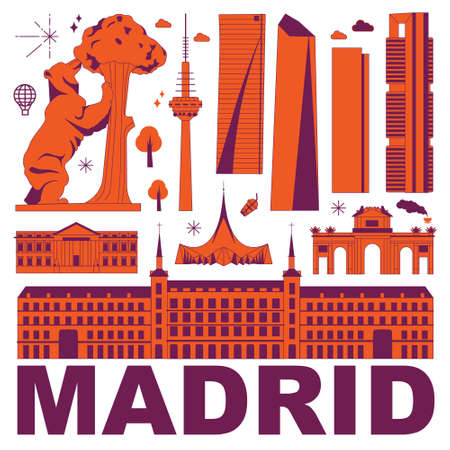 Madrid culture travel set, famous architectures and specialties in flat design. Business travel and tourism concept clipart. Image for presentation, banner, website, advert, flyer, roadmap, icons