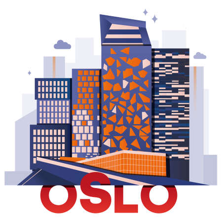 Oslo culture travel set, famous architectures and specialties in flat design. Business travel and tourism concept clipart. Image for presentation, banner, website, advert, flyer, roadmap, icons.