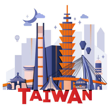 Taiwan night culture travel set, famous architectures and specialties in flat design. Business travel and tourism concept isolated on white background. Image for presentation, banner, website, app. Vettoriali