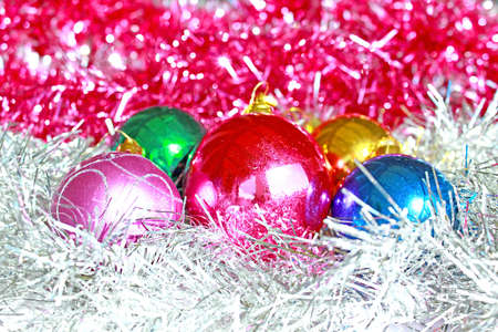 New Year s decoration of many colorful and beautiful ornaments for Christmas tree,photography photo