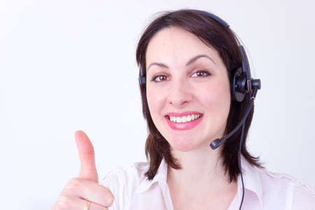 Beautiful young woman working in a telephone customer service,photography photo