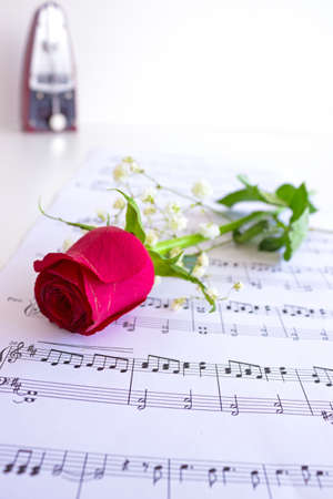 Beautiful red roses on the paper with notes and metronome in the background photo