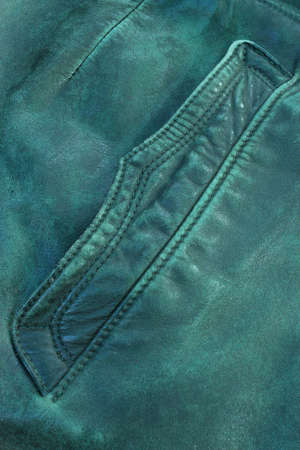 Pocket of a military leather coat in close-up Stock Photo - 22401311