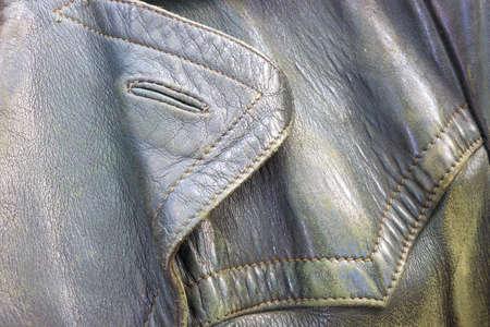 Black genuine leather in full frame photo