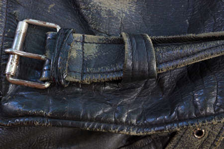 Belt of black genuine leather Stock Photo - 22410972