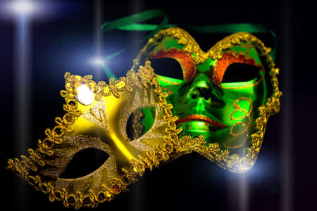 costume ball: Carnival masks on a black background, photography Stock Photo