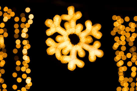 New Year s decorations of snowflakes in the night out of focus, photography photo
