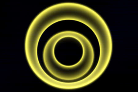 power projection: Light yellow circle on a black