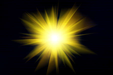 Yellow light and rays on a black