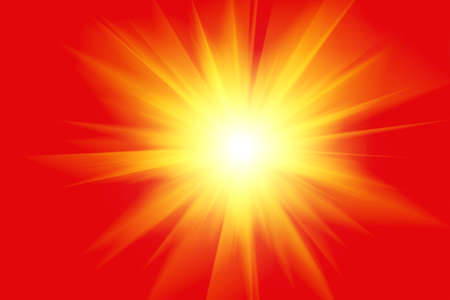 power projection: Yellow light and rays on a red, Light, Illustration Stock Photo