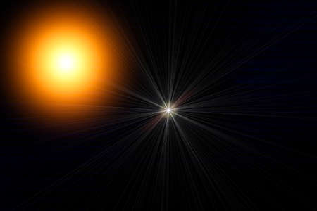 light transmission: Light circle on a black, Sun and star in space