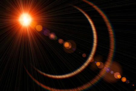 sun s: Raggi del sole e il sole s su sfondo nero, luce del sole, illustrazione Archivio Fotografico