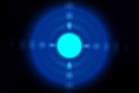 power projection: The blue light circle on a black background, Blue circle, Illustration Stock Photo
