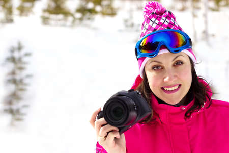 winters: Smiling young woman shoots winters nature, All Winters Magic, Photography