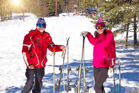 Couple enjoy on skiing and the snow, All Winter's Magic, Photography