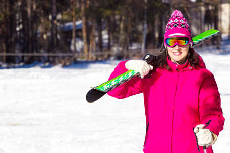 Woman carries skis on the shoulder, All Winter's Magic, Photography
