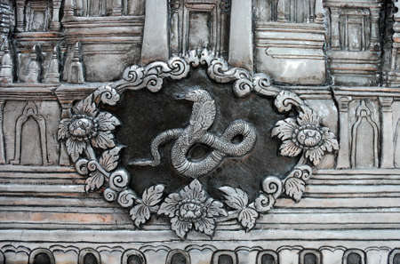 texture of silver metal Snake , Muean Sarn Temple Chiang Mai Thailand Stock Photo - 10301699
