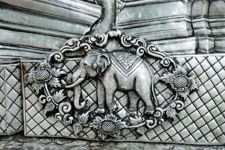 texture of silver metal Elephant , Muean Sarn Temple Chiang Mai Thailand  photo