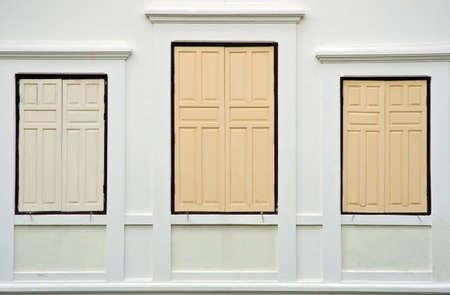 gothic design: vintage window on white cement wall Stock Photo