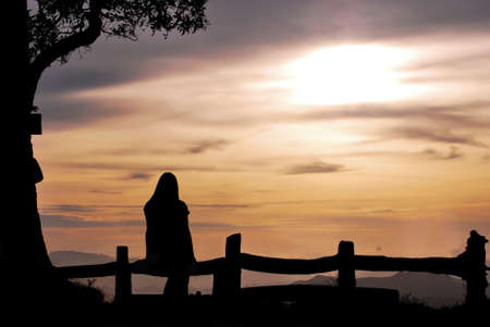silhouette girl on the hill