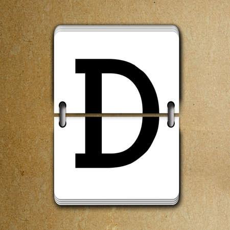 reversible: Letter D from mechanical scoreboard alphabet Stock Photo
