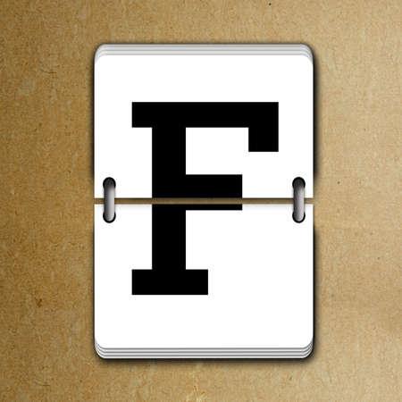 reversible: Letter F from mechanical scoreboard alphabet
