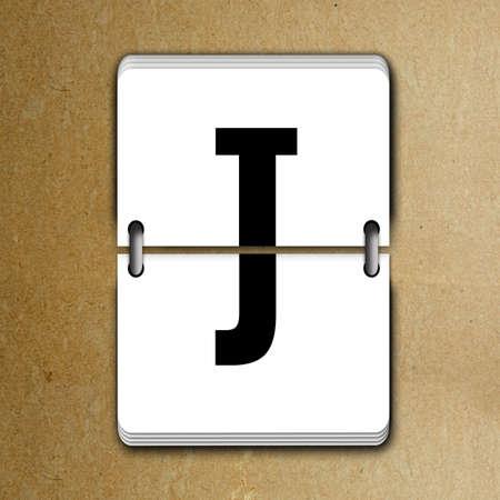 mechanical panel: Letter J from mechanical scoreboard alphabet