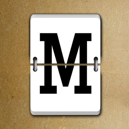 tableau: Letter M from mechanical scoreboard alphabet