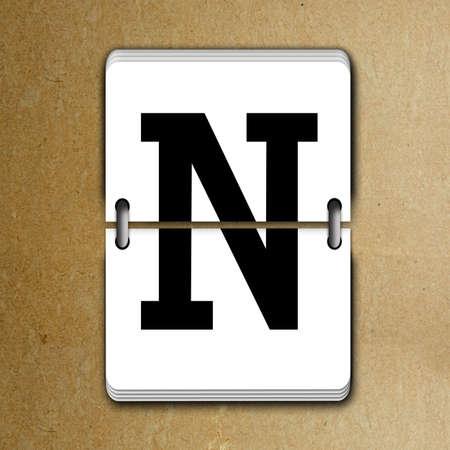 tableau: Letter N from mechanical scoreboard alphabet Stock Photo