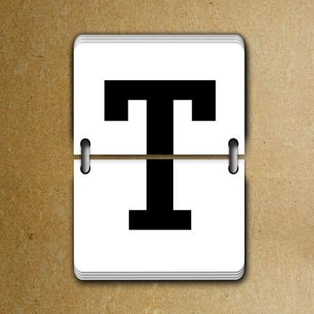 mechanical panel: Letter T from mechanical scoreboard alphabet