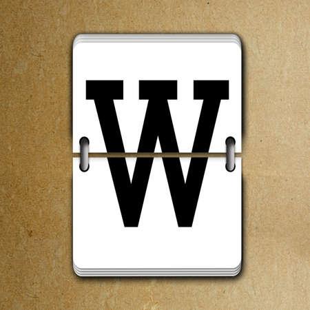 tableau: Letter W from mechanical scoreboard alphabet Stock Photo