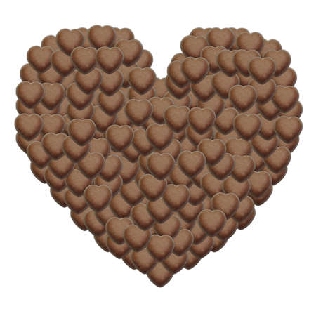 close up of chocolate pieces heart shape on white background Stock Photo - 12706223