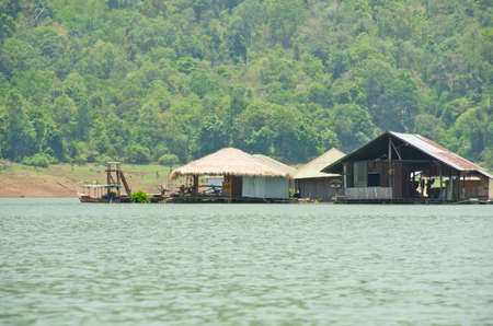 raft floating house on the Reservoir