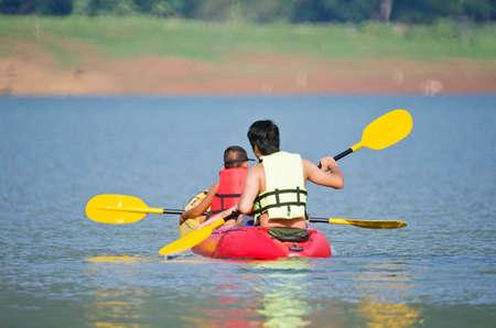 kayaking on lake Editorial