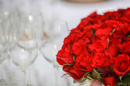 wine glass and rose