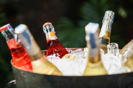 Bottles of wine on ice