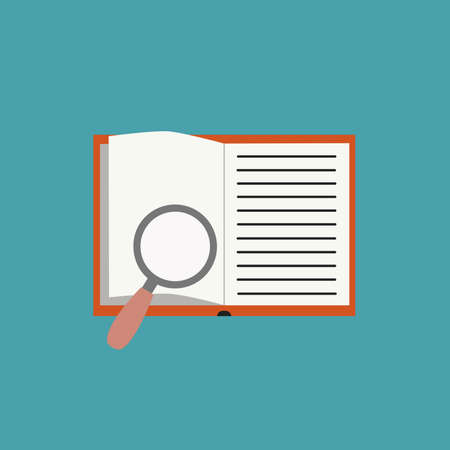 Open book and magnifying glass flat icon. Vector