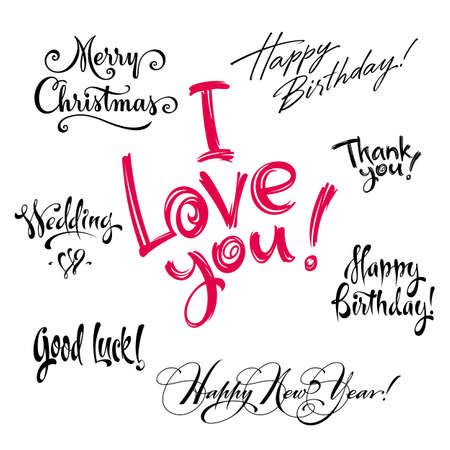 hand lettering: greetings hand lettering set