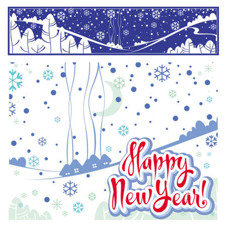 paysage: Happy New Year lettering and illustration Illustration