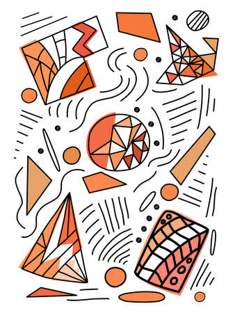 simple design geometric doodle Contains lines, colors, dots and layouts that can be applied to a wide variety of applications such as backgrounds, templates, cards and more