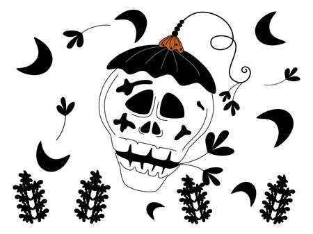 Happy Halloween collection designed with doodle style in black, white, orange tones for decorating items such as cards, room decorations, parties, t-shirts, stickers, hats, digital printing, mugs Vector Illustration