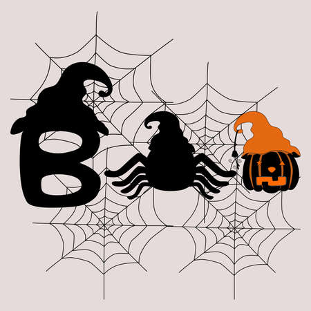 Collection of Halloween doodle designs in black and white orange tones for Halloween decorations, t-shirts, mugs, pillow patterns, stickers, cards, backgrounds, blanket patterns, Halloween for kids