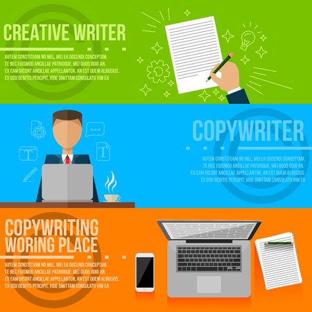 copywriting: Copywriting. Vector gadgets, copywriter, creative writer flat style colorful banners set. Writing flat infographic .Line Art icons